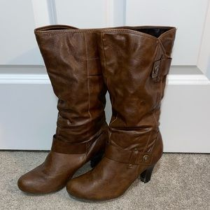 Ana brown leather boots